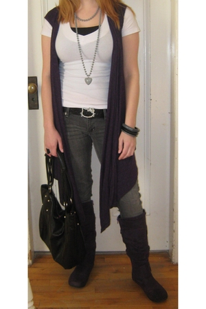 black belt - gray jeans - white shirt - purple vest - silver accessories - purpl