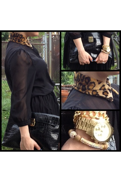 bracelet - black clutch bag - mk watch watch - blouse - leopard collar necklace