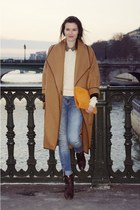 H&M Trend coat - vintage boots - Zara jeans - American Apparel sweater