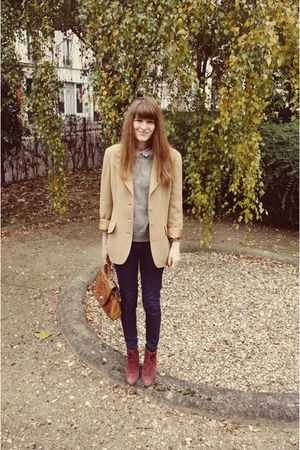 red boots - silver H&M sweater - beige Burberry blazer - brown bag