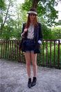 Blue-zara-blazer-black-boots-brown-h-m-hat