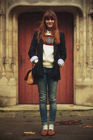 bronze bag - brown shoes - cream sweater