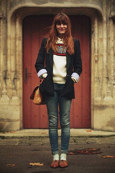 bronze bag - brown shoes - cream sweater