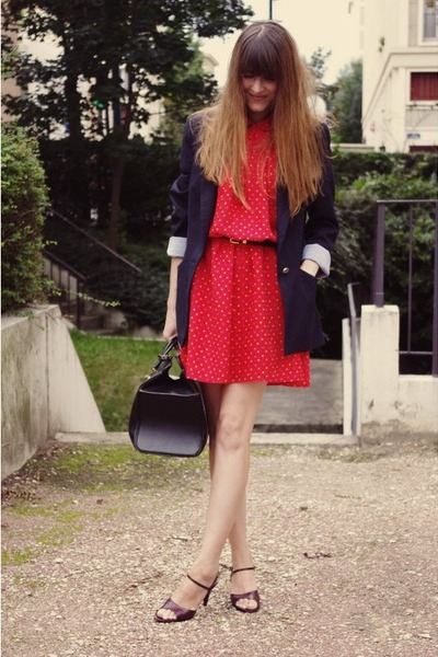 vintage dress - Zara blazer - vintage bag - vintage sandals