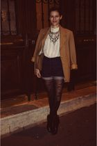 black Zara boots - blue H&M Trend shorts - white shirt - beige Burberry blazer -