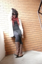 dress - boots - sweater - scarf