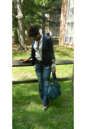 off white pure silk vintage blouse - navy Zara blazer - teal D&G Vintage bag