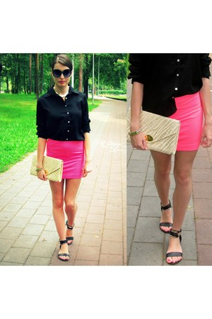 black   sandals - cream   bag - black   blouse - hot pink   skirt