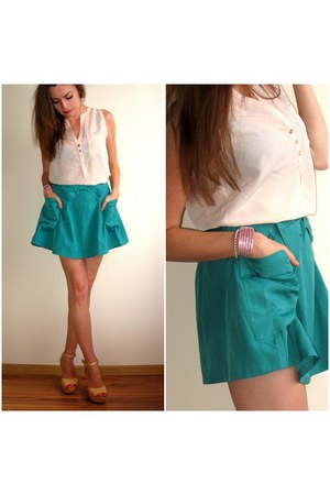aquamarine  skirt - ivory  blouse - cream  sandals