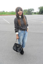 black polka dots holmes bros blouse - gold gold collar SASS DIVA necklace
