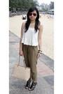 White-bardot-top-brown-topshop-pants-black-nine-west-shoes-beige-chanel-ba