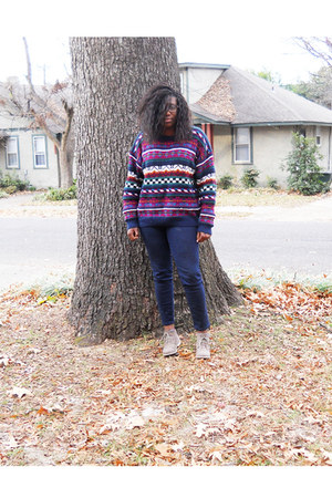 Forever 21 shoes - thrifted sweater - Forever 21 pants
