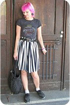 black H&M bag - white PTA shorts - black random loafers