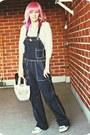 Navy-overalls-diesel-jeans-silver-h-m-shirt-light-pink-hamburgirl-bag