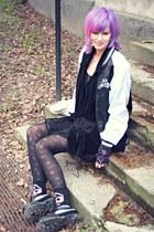 black thrifted Underground shoes - black thrifted dress - black Sex Pistols coat