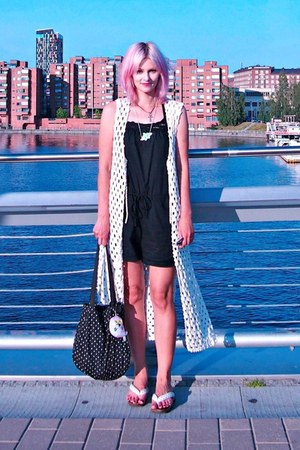 white crocheted DIY vest - black H&M bag - black lace H&M romper