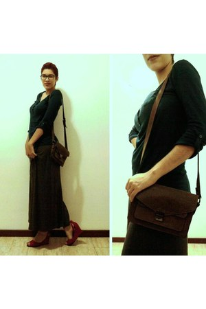 heather gray Zara skirt - brown leather bag asos bag - green Zara blouse