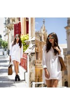 cut out leather Choies boots - Michael Kors bag - white silky Zara blouse