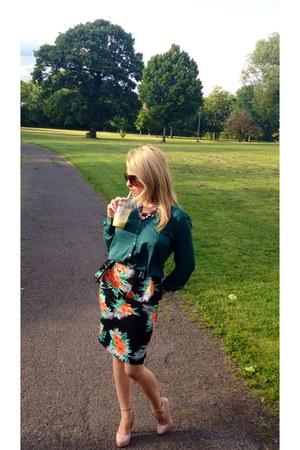 black Topshop skirt - green River Island shirt - neutral new look heels