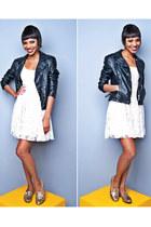 black leather jacket jacket - cream white dress dress