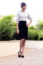 cream coat coat - black pencil skirt skirt