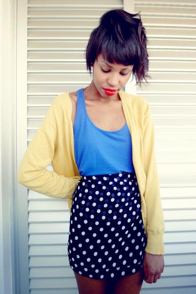 black vintage POA skirt - blue fashion race blouse - yellow casual Zara cardigan