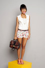 Ivory-floral-print-zara-shorts-white-lace-marisa-vest