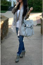 scarf - boots - jeans - blazer - bag