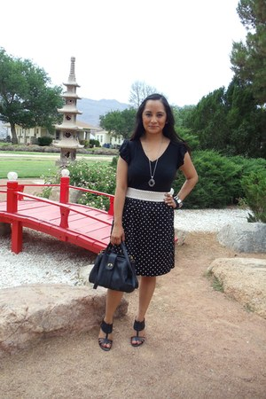 black TJ Maxx shirt - dark gray Target bag - beige thrifted skirt