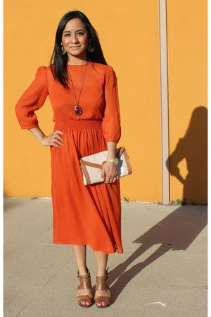 carrot orange midi chiffon asos dress - tan clutch Aldo bag