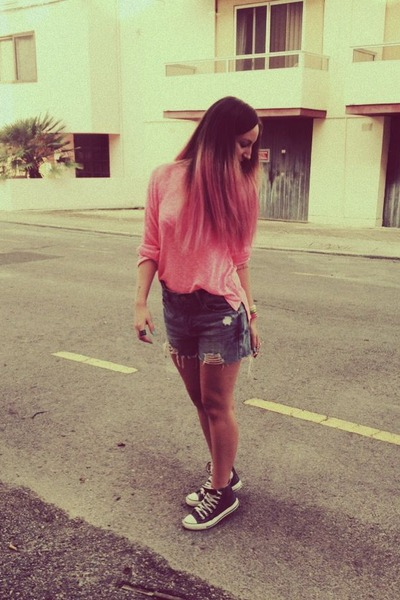 hot pink H&M blouse - sky blue denim shorts Zara shorts - teal Converse sneakers