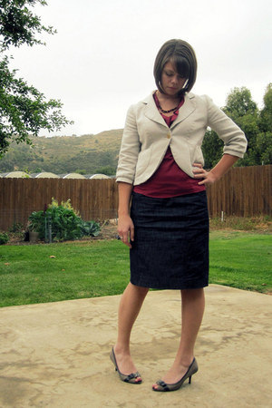cropped Ann Taylor Loft blazer - denim pencil thrifted skirt - ruffled Ruche top