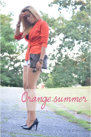 orange H&M blazer - dark brown DIY bag - white Macys shorts