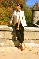 white Forever 21 blazer - black jeans - crimson DIY bag - carrot orange heels