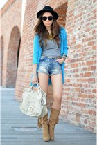 black H&M hat - beige Pusa Ciucle boots - blue H&M shorts - blue random cardigan