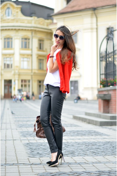 red Zara blazer - black leather pants custom made pants