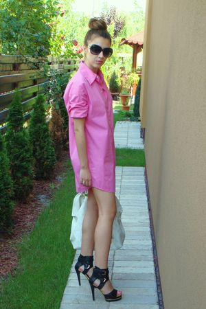 pink dress - white accessories - black shoes - black sunglasses