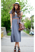 gray nowIStyle dress - beige H&amp;M hat - brown Mango bag