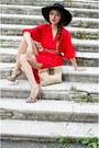 Red-zara-dress-black-h-m-hat-beige-outerinner-pumps