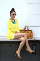 yellow chicnova blouse - gold nowIStyle necklace