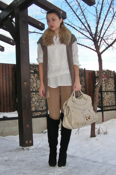 eggshell Zara shirt - camel Zara leggings - brown thrifted vest - beige Guess ba