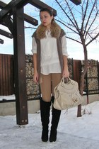 eggshell Zara shirt - camel Zara leggings - brown thrifted vest - beige Guess ba
