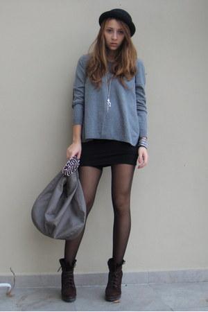 charcoal gray H&M sweater - black custom made dress - gray Zara bag - dark brown