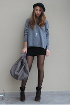 charcoal gray H&M sweater - black custom made dress - gray Zara bag - dark brown