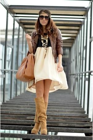 brown Bershka jacket - beige custom made boots - beige nowIStyle dress