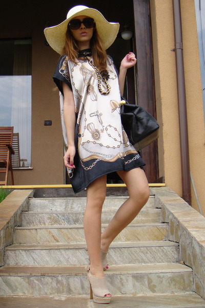 black Mango sunglasses - beige italian brand shoes - beige custom made dress