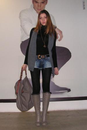 gray Stefanel vest - blue random cut shorts - gray custom made boots - black vin