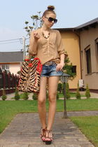 blue DIY shorts - brown il passo shoes - brown Zara shirt