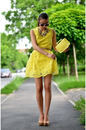 yellow Sheinside dress - light yellow c&a bag - nude Bershka heels