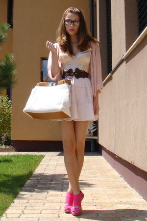 brown DIY belt - pink Zara shoes - beige Random Bag accessories